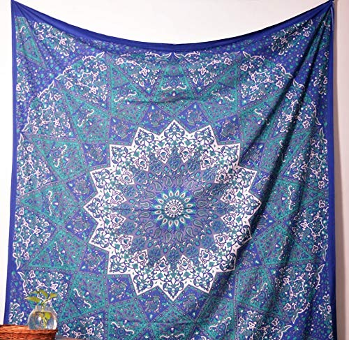 Americana Decor's Indian Mandala Tapestry Wall Hanging Throw Decorative New Mandala Throw (Blue Star)