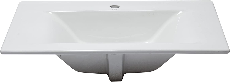 EAGO BB127 White Ceramic 32x19 Rectangular Drop in Sink