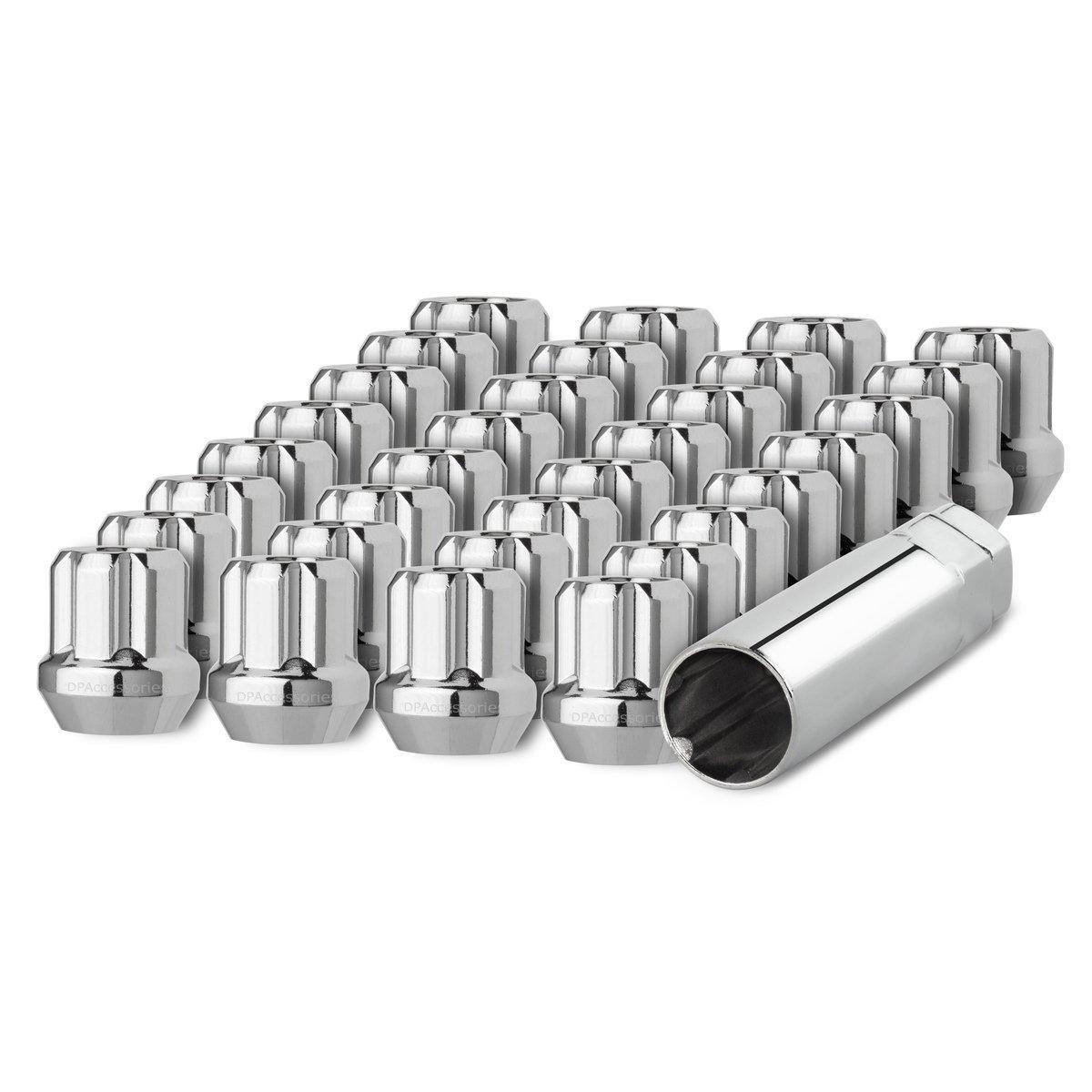 DPAccessories LOS2B8HC-CH04032 32 Chrome 14x1.5 Open End Duplex Spline Tuner Lug Nuts for Aftermarket Wheels Wheel Lug Nut