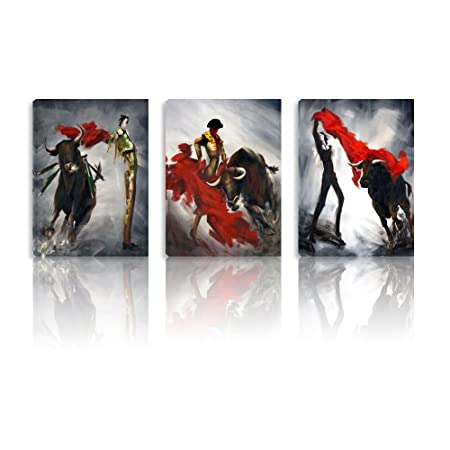 Bull Fight Canvas Wall Art Corrida de Toro Canvas Painting Stretched on Canvas 3 Panels Wood Framed Wall Oil Paintings Ready to Hang Wall Decoration 16 x37 By Smarten Arts