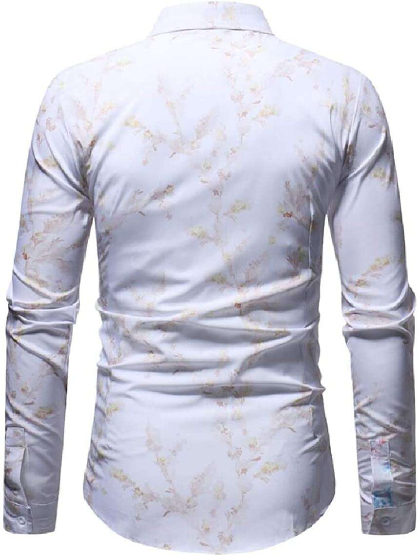 Yayu Mens Beach Long Sleeve Slim Fit Printing Aloha Hipster Button Down Dress Shirts