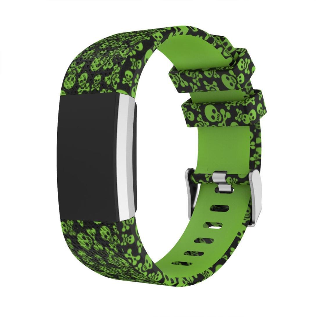 For C B078SMVP99 Fitbit Charge 2交換用バンド、スポーツシリコンWristbands手首ストラップスカルLeopard Military印刷時計アクセサリー B078SMVP99 C For C, 青砥屋 ほつま高蒔絵シール専門店:2e694305 --- acee.org.ar