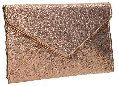 SWANKYSWANS Gold Slim Envelope Bag Party Womens Lola Glitter Clutch Line UrHxUTPq