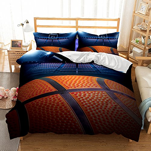Damara Big Basketball 3D Bedding Set Print Duvet Cover Set Lifelike Bed Sheet #06 (1, Twin) (Big Bed Twin)
