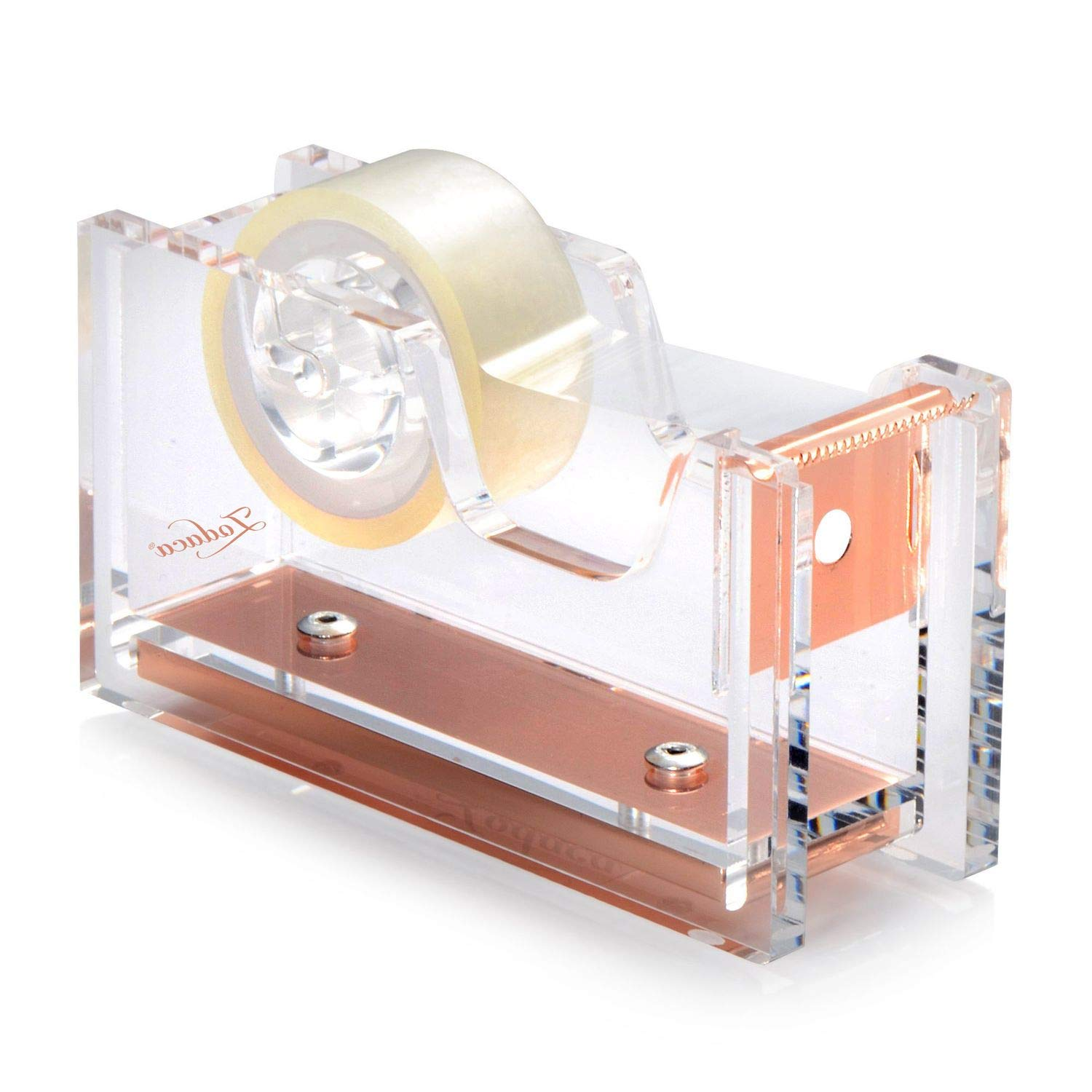 Acrylic Tape Dispenser, Zodaca Crystal Clear Deluxe Desktop Rose Gold Tape Dispenser, Medium Standard Size, for Tape below 3/4 with Tape included, Classic Design to Brighten up Your Desk and Office eForCity AX-AY-ABHI-115141
