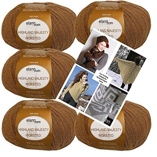 elann Highland Majesty Worsted Yarn | 5 Balls + 4 Patterns | 600 Golden (Highland Knitting Yarn)