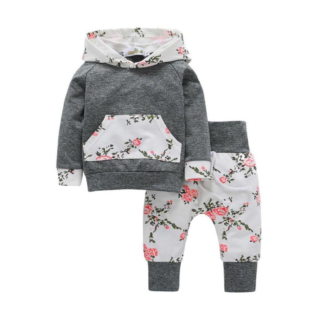 2pcs Kids Infant Baby Boy Girl Outfit Hoodie Set Floral Pocket Sweatsuit  Tops+Pants