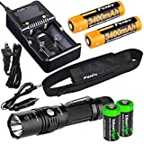 EdisonBright Fenix PD35 TAC 1000 Lumen CREE LED Tactical Flashlight, advanced smart battery charger, Two Fenix 18650 ARB-L2S 3400mAh rechargeable batteries with 2X CR123A Batteries bundle