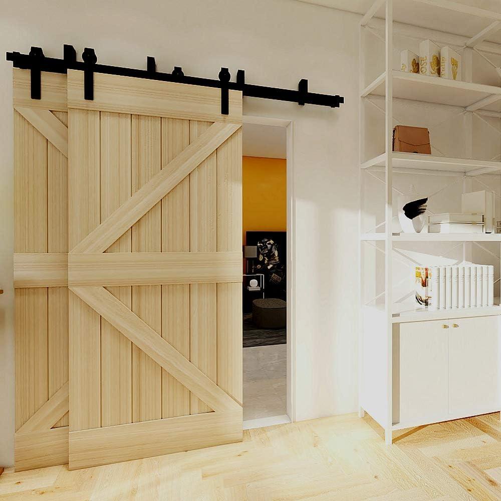 228cm(7.5FT) Kit de guía para puerta corredera Bypass Ferretería Polea de Rail suspendida sistema de puerta interiores en madera granero armario cuarto de, negro: Amazon.es: Bricolaje y herramientas