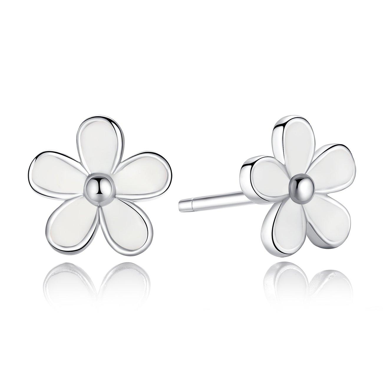 BAMOER 925 Sterling Silver Darling Daisy Hawaiian Flowers Stud Earrings with White Enamel Shiny CZ