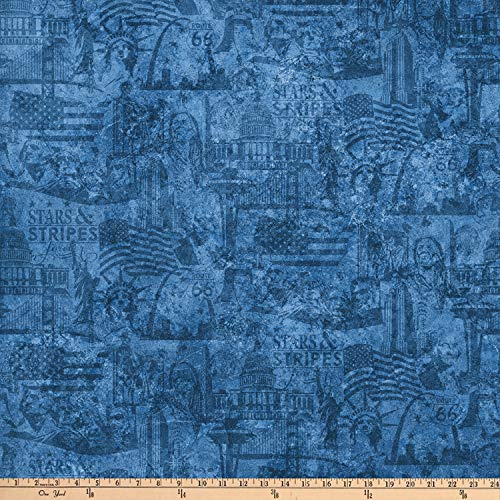 Northcott Stars and Stripes Patriotic Scene Blue Fabric by The (Patriotic Cotton Fabric Stars)