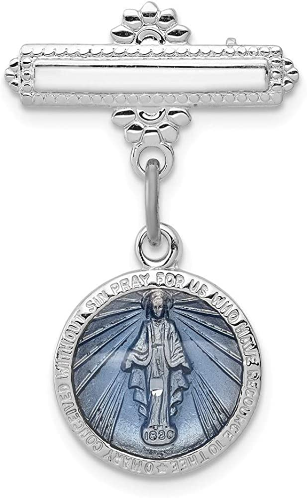 Sterling Silver Enameled Miraculous Medal Pin Unisex Solid 18 mm 28 mm Themed Themed Pins Accessory