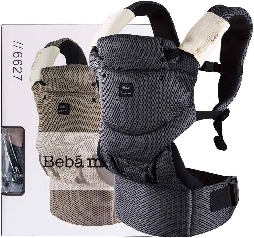 Khaki Bebamour Baby Carrier 3-36 Months 3D Air Mesh Baby Carrier Sling for Infant and Toddlers Summer Breathable Baby Carrier Wrap