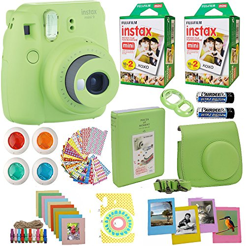 Fujifilm Instax Mini 9 Instant Camera + Fuji INSTAX Film (40 Sheets) Includes Camera Case + Frames + Photo Album + 4 Color Filters and More Top Accessories Bundle (Green)