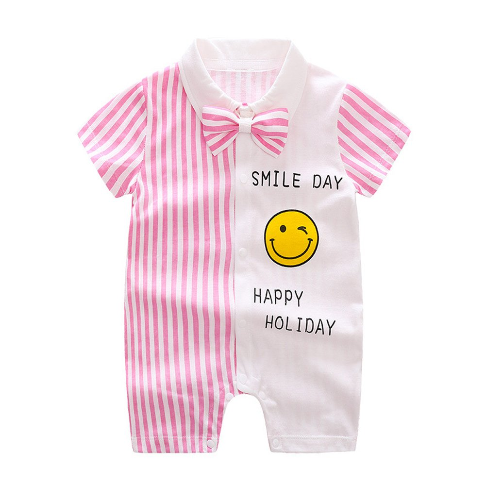 ALLAIBB Toddler Boys Rompers Gentlman Overalls Stripped Smiling Face with Bowtie