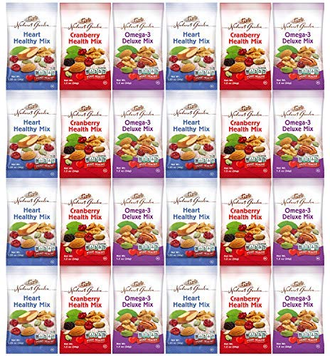 Healthy Premium Assorted Nuts and Fruits Snack Mix Sampler Variety Pack, Good for the Heart by Variety Fun (Care Package 24 Count)