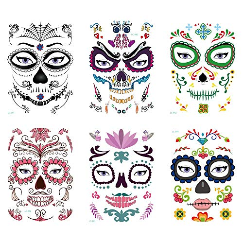 Kungfu Mall 6pcs Halloween Face Temporary Tattoos, Tattoos Sugar Skull Stickers Day of The Dead Makeup, Face Tattoo Rose Design for Women Men Adult Kids Halloween Party Favor Supplies