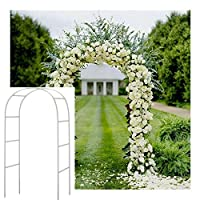 Adorox 7.5 Ft Lightweight White Metal Arch Wedding Garden Bridal Party Decoration Arbor (1)