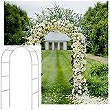 Adorox 7.5 Ft White Metal Arch Wedding Garden Bridal Party Decoration Arbor (1)