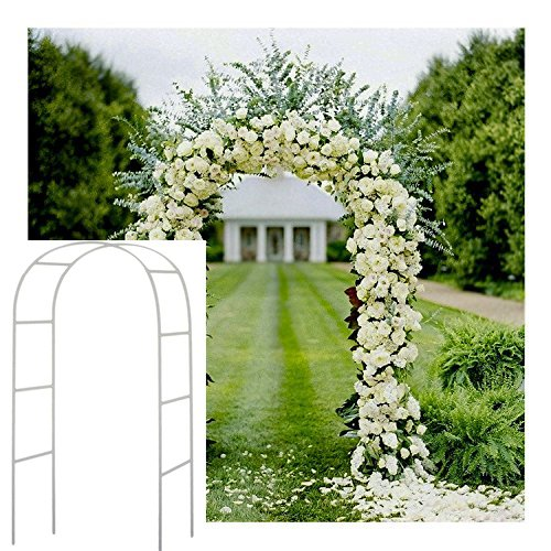 Adorox 7.5 Ft Lightweight White Metal Arch Wedding Garden Bridal Party Decoration Arbor (1) -