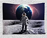 Ambesonne Space Tapestry Decor, Brave Astronaut at The Spacewalk on The Moon Surface with Earth Cosmos Art Image, Wall Hanging for Bedroom Living Room Dorm, 80 W X 60 L Inches, Purple and Blue