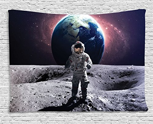 (Ambesonne Space Tapestry Decor, Brave Astronaut at the Spacewalk on the Moon Surface with Earth Cosmos Art Image, Wall Hanging for Bedroom Living Room Dorm, 60 W X 40 L Inches, Purple and Blue)
