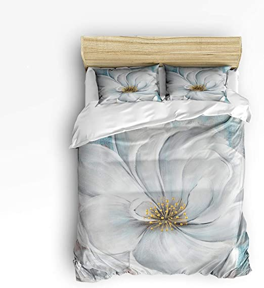 Heart Pattern Luxury Bedding Set White Duvet Cover Pillow Cases
