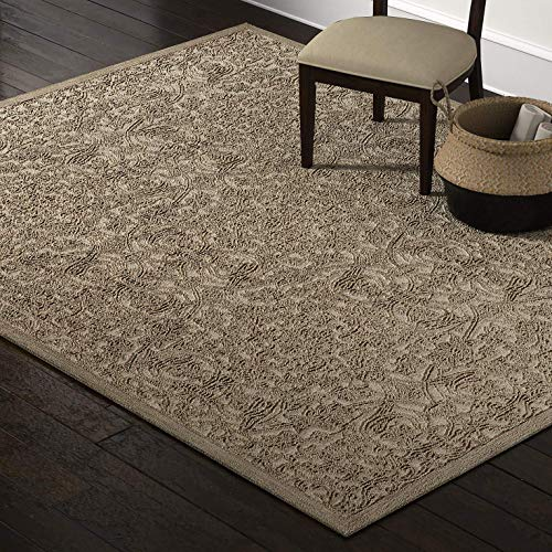 Stone & Beam Floral Wool Area Rug, 8 x 10 Foot, Taupe
