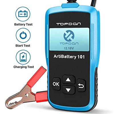 Car Battery Tester - 12v Car Auto Battery Load Tester on Cranking System and Charging System Scan Tool, TT Topdon AB101 100-2000 CCA Battery Tester Automotive for Cars/SUVs/Light Trucks: Automotive