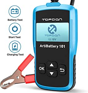 TOPDON ArtiBattery101 Car Battery Tester 12V 100-2000 CCA Automotive Analyzer for Battery System Test Including Cranking & Charging Test and Common Fault Eliminating