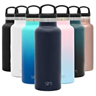 Simple Modern 17oz Ascent Water Bottle - Stainless Steel Flask w/Handle Lid - Hydro Double Wall Tumbler Vacuum Insulated Blue Small Reusable Metal Leakproof -Deep Ocean