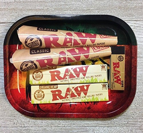 Papers King Size Organic Papers With Raw Rolling Paper Cones, Filter and Rasta Lion Rolling Tray RYO Kit ()