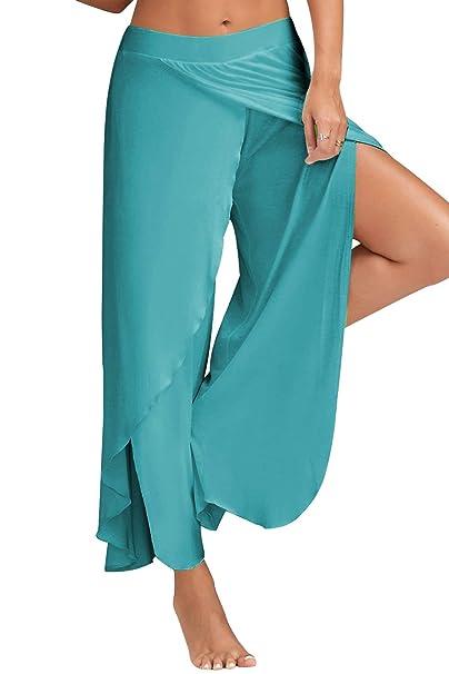 Landove Pantalon Yoga Mujer Abierto Leggins Deporte Cintura ...