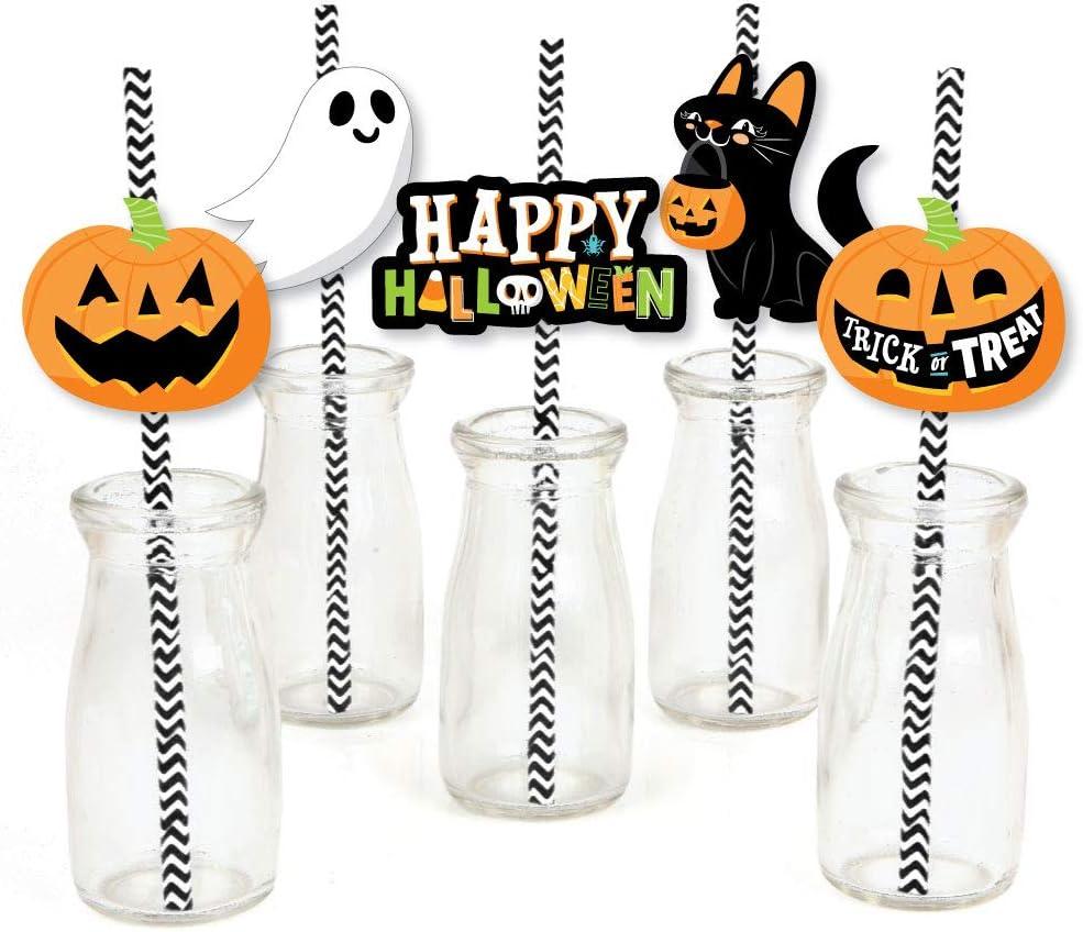 Big Dot of Happiness Jack-O'-Lantern Halloween - Paper Straw Decor - Kids Halloween Party Striped Decorative Straws - Set of 24