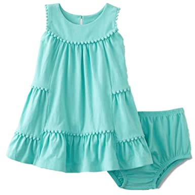 Image Unavailable. Image not available for. Color  Little Wonders Infant  Girls 2 PC Baby Outfit Mint Green Pom-Pom Sundress Dress   c7a29d475