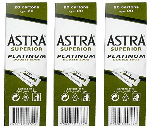 300 Astra Platinum Double Edge Safety Razor Blades (3 x 100)
