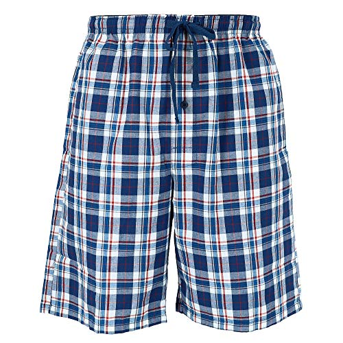 Hanes Men's Cotton Madras Drawstring Sleep Pajama Shorts, Large, Blue ()