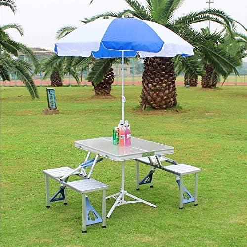 QXY ZYQ Gedeckter Tisch und Stühle Outdoor Klapptisch Stuhl Camping Aluminiumlegierung Picknicktisch wasserdichte ultraleichte Durable Klapptisch Schreibtisch Für (Farbe : Ivory)