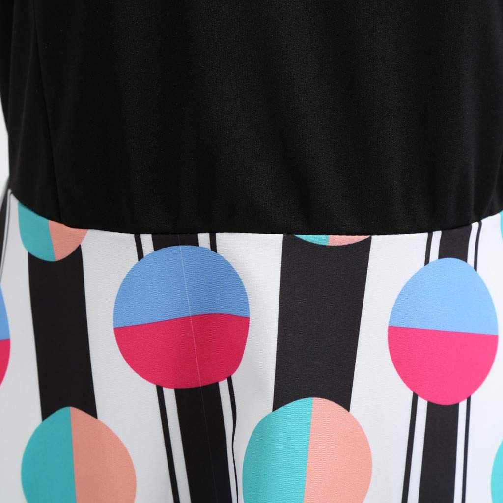 AopnHQ Women Bow Long Sleeve Party Retro Print Dress