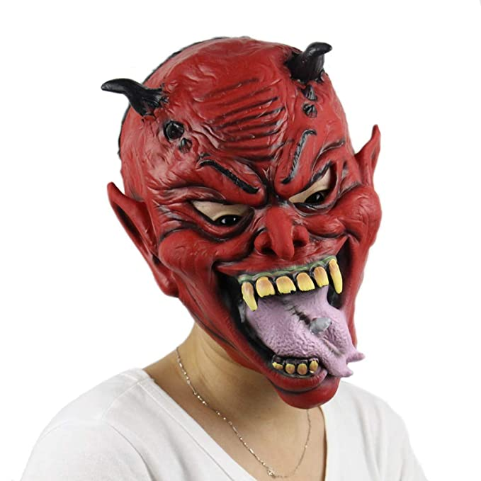 JINRU Máscara de Halloween de Miedo Infierno Bruja ...