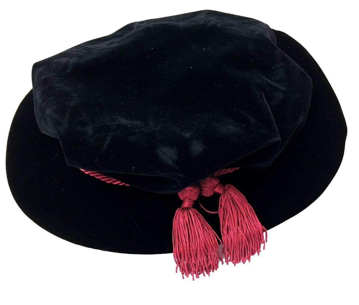 Black Velvet Tudor Beefeater Style Maroon Tassel Bonnet - DeluxeAdultCostumes.com