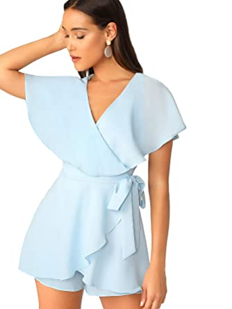 c315d19b8 Amazon.com: SheIn Women's Sexy V Neck Wrap Front Tie Waist Short Romper  Jumpsuit: Clothing