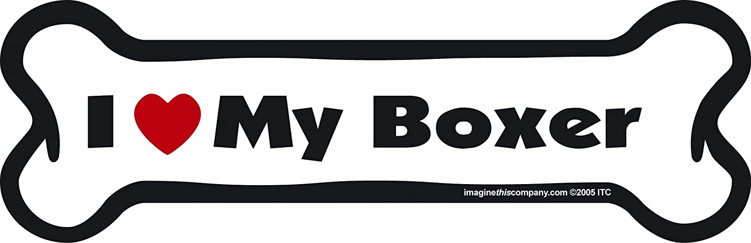 Imagine This Bone Car Magnet, I Love My Boxer, 2-Inch by 7-Inch Imagine This Company B0039