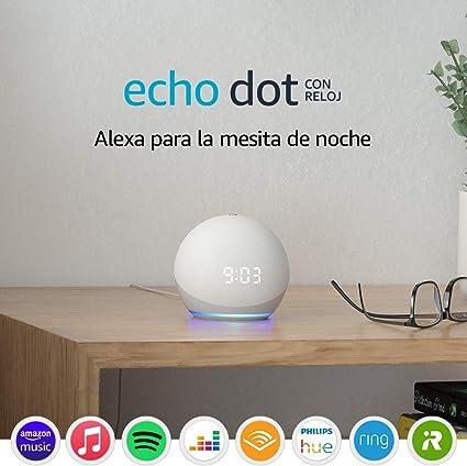 Nuevo Echo Dot (4.ª generación)   Altavoz inteligente con reloj y Alexa   Blanco: Amazon.es