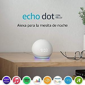 Nuevo Echo Dot (4.ª generación)   Altavoz inteligente con reloj y Alexa   Blanco