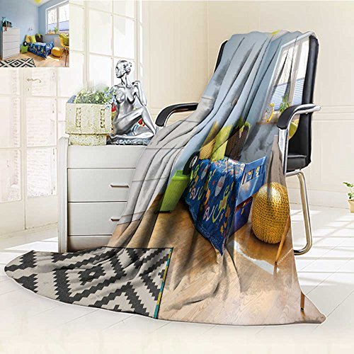 Luminous Microfiber Throw Blanket Pastel Child Room with a Chest of Drawer Bed Pouf and Big Window Glow in The Dark Constellation Blanket, Soft and Durable Polyester(90