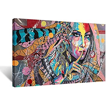 Charmant Hello Artwork   Native American Indians Girl Feathered Canvas Wall Art  Painting Home Decorations Stretched And