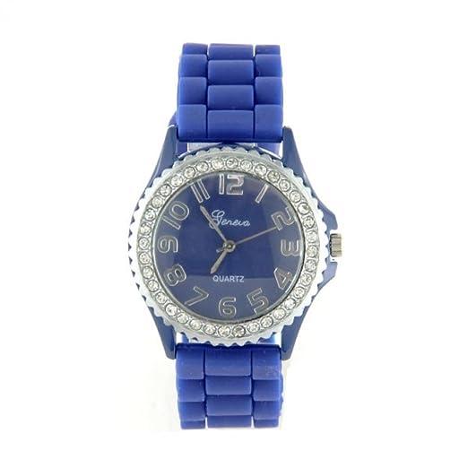 Geneva-Reloj de pulsera de silicona tipo azul de pantalla: agujas-Brazalete-color azul de la caja: azul: Amazon.es: Relojes