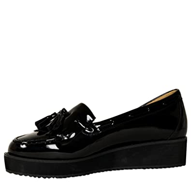 ByPublicDemand Patsy Womens Tassel Fringe Loafer Style Ladies Creepers