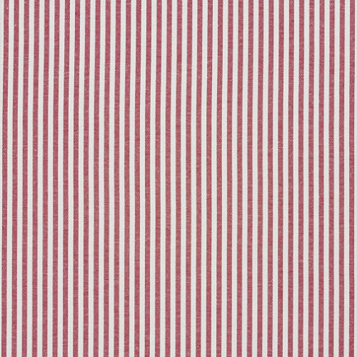 A562 Red and White Ticking Stripes Cotton Heavy Duty Upholstery Fabric by The Yard ()